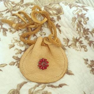 Handbags - Doeskin pouch with red coral and sterling accent.